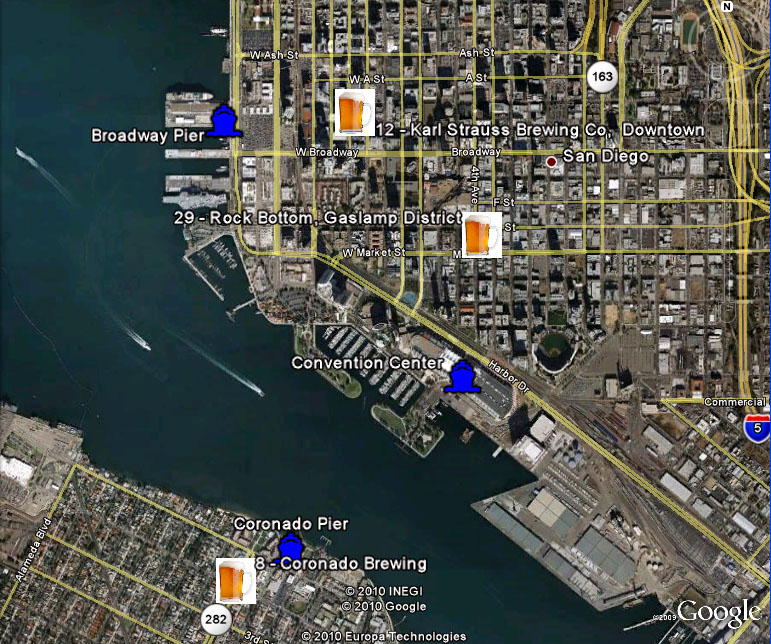 Google Earth - Ferry Piers and Adjacent Breweries